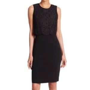 Rebecca Taylor Black Lace Popover Sheath Dress